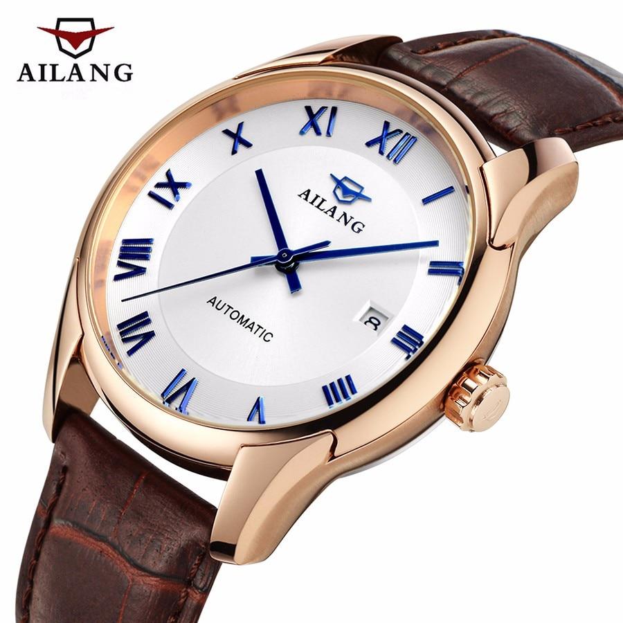 AILANG Men Mechanical watch top luxury brand Male Clock Business watch Men Casual Calendar Leather Automatic Mechanical Watch все цены