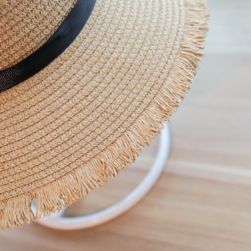 81b5953b4061d 2018 Women Summer Sun Hat With A Large Brim Ladies Raffia Straw Hat Fringe  Big Beach Hats For Holiday Sombrero-in Sun Hats from Apparel Accessories on  ...
