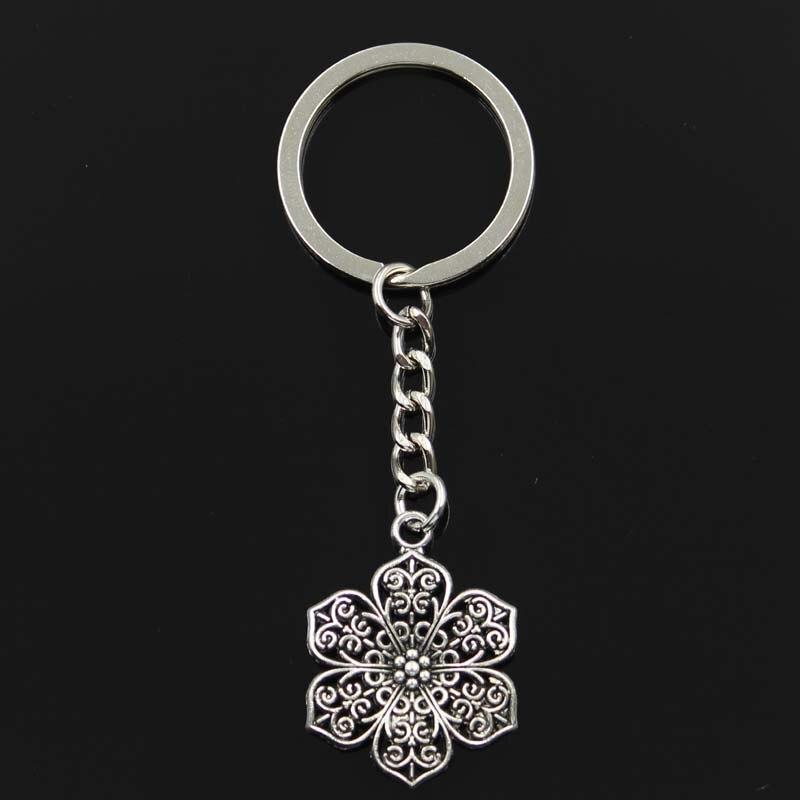 Fashion Flower 32x24mm Pendant 30mm Key Ring Metal Chain Bronze Silver Color Men Car Gift Souvenirs Keychain Dropshipping