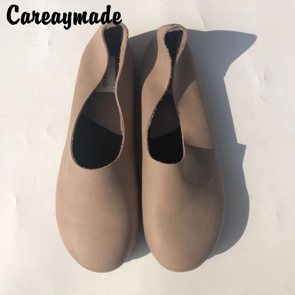 Careaymade 2018 Head layer cowhide pure handmade shoes the retro art mori girl shoes Women s
