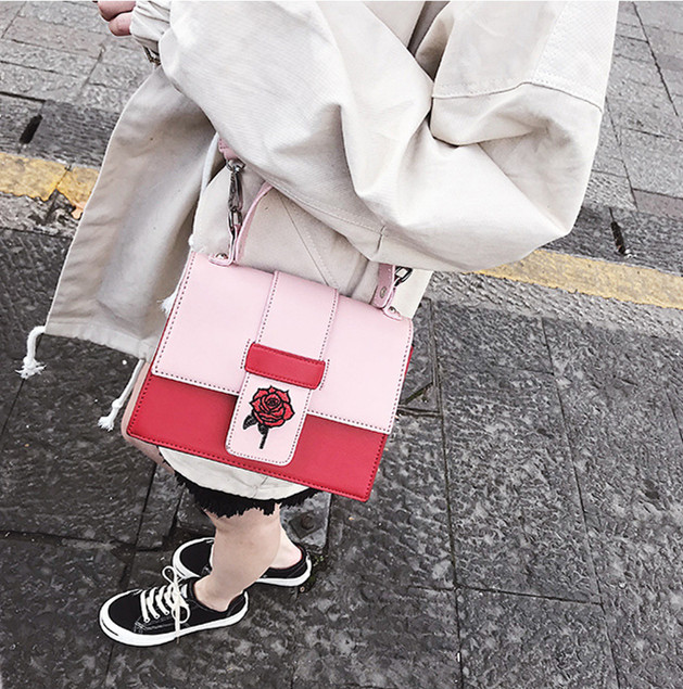 2018 Embroidered rose style famous brand Minimalist Crossbody Bag women Shoulderbag messenger Puzzle Ring bags for women
