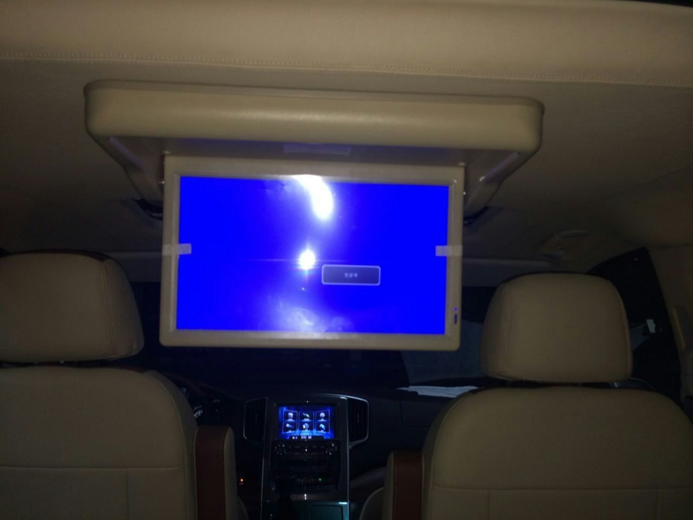 DC12-24V 15.6inch Ceiling Flip Down Lcd Motorized roof mounted bus monitor with HDMI VGA Input/USB Port BUS DVD Player 1366*768