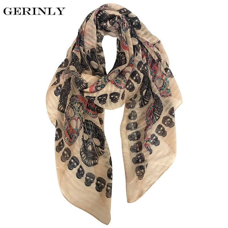 Fresco cráneo imprimir bufanda ligera acogedor Otoño Invierno pañuelos y bufandas larga de mujer de lujo de Hijab de la bufanda de la cabeza