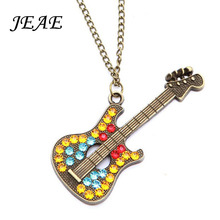Фотография Fashion Multicolor Crystal Guitar Pendant Necklaces For Women Bronze color Long chain Punk Rhinestone Necklaces Brand Jewelry