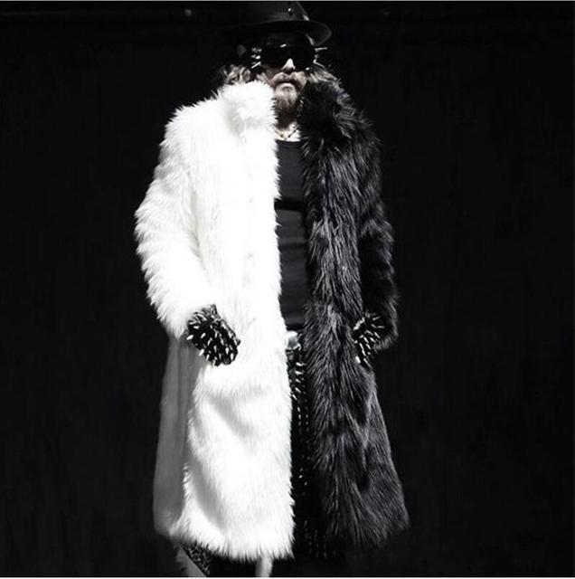 Men long faux fur coats Splice winter Fox fur Fashion thickening lapel Multi-size jackets high end coats Free shipping