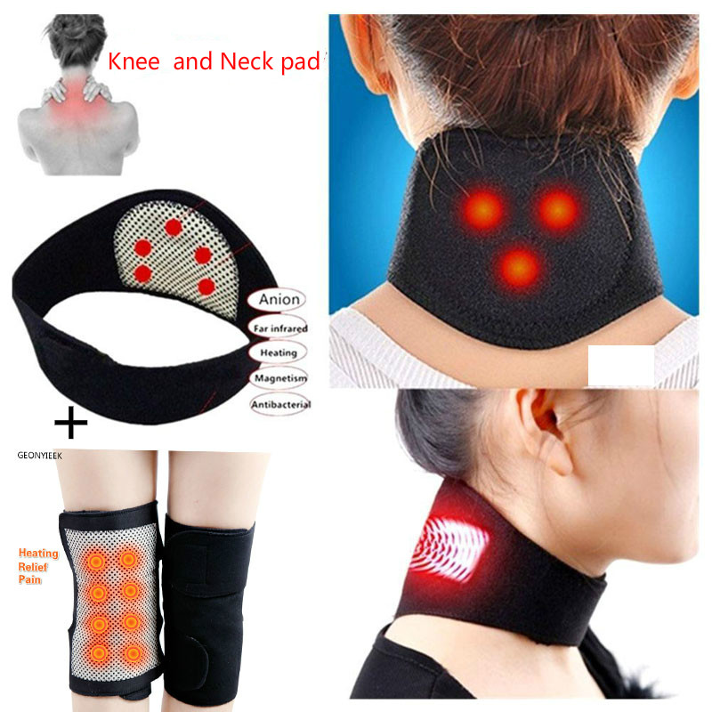 Knee and Neck pad Set Relief Pain Tourmaline Self Heating Magnetic Therapy Knee Support Heating Massager Belt Knee Pad Bone Care joelheira magnética alívio