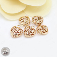 10PCS 11x12.5MM 24K Champagne Gold Color Plated Brass Hearts Charms Pendants High Quality Diy Jewelry Accessories