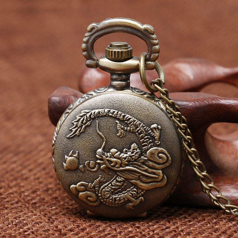 Retro 3D Chinese Dragon Design Small Size Quartz Pocket Watch With Sweater Necklace Chain Best Gift For Men Women