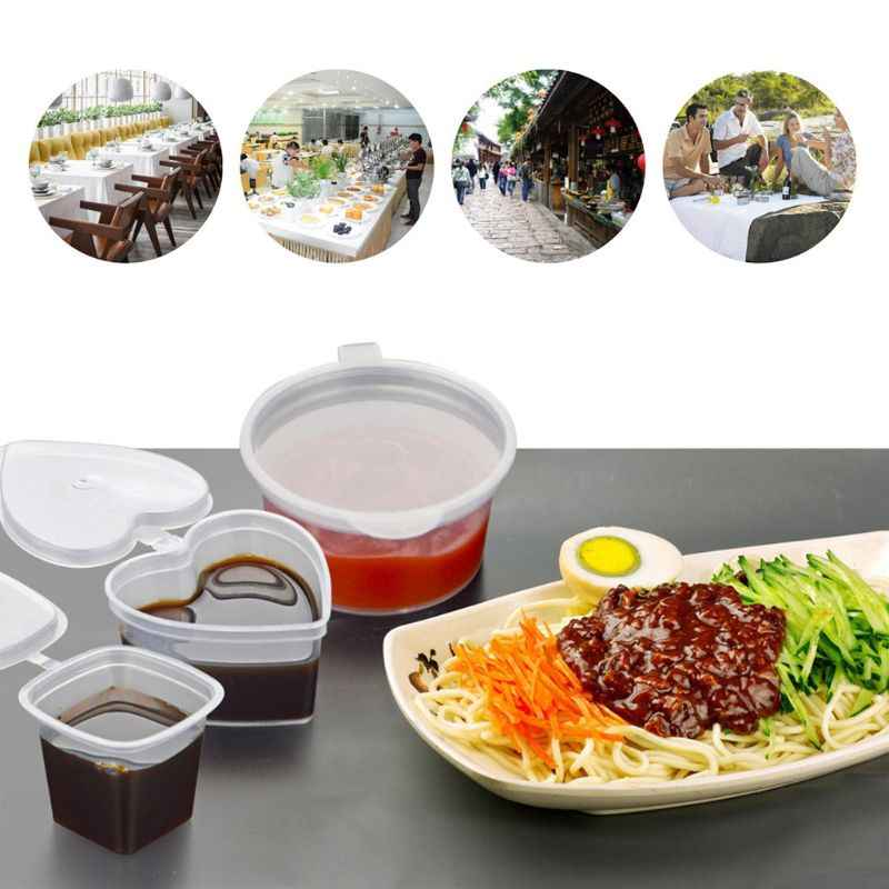 10pcs Disposable Clear Plastic Sauce Chutney Cups Slime Storage Container Box With Lids 30ml