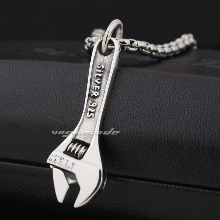 Delicate Wrench 925 Sterling Silver Pendant 8P008(Necklace 24inch)Delicate Wrench 925 Sterling Silver Pendant 8P008(Necklace 24inch)