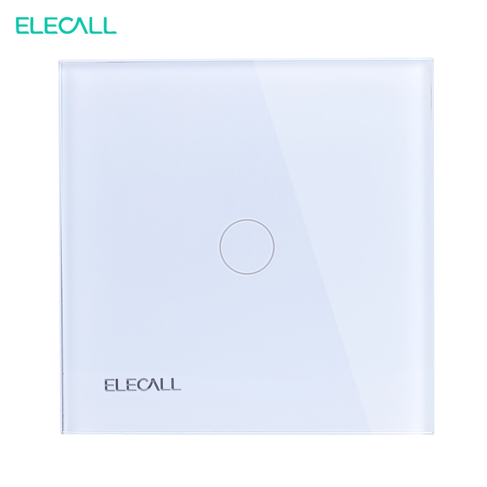ELECALL EU standard Touch Screen Light Switch, Wall Light Touch Screen White Crystal Glass Panel SK-A801-01EU 1gang 1 way smart home eu touch switch wireless remote control wall touch switch 3 gang 1 way white crystal glass panel waterproof power
