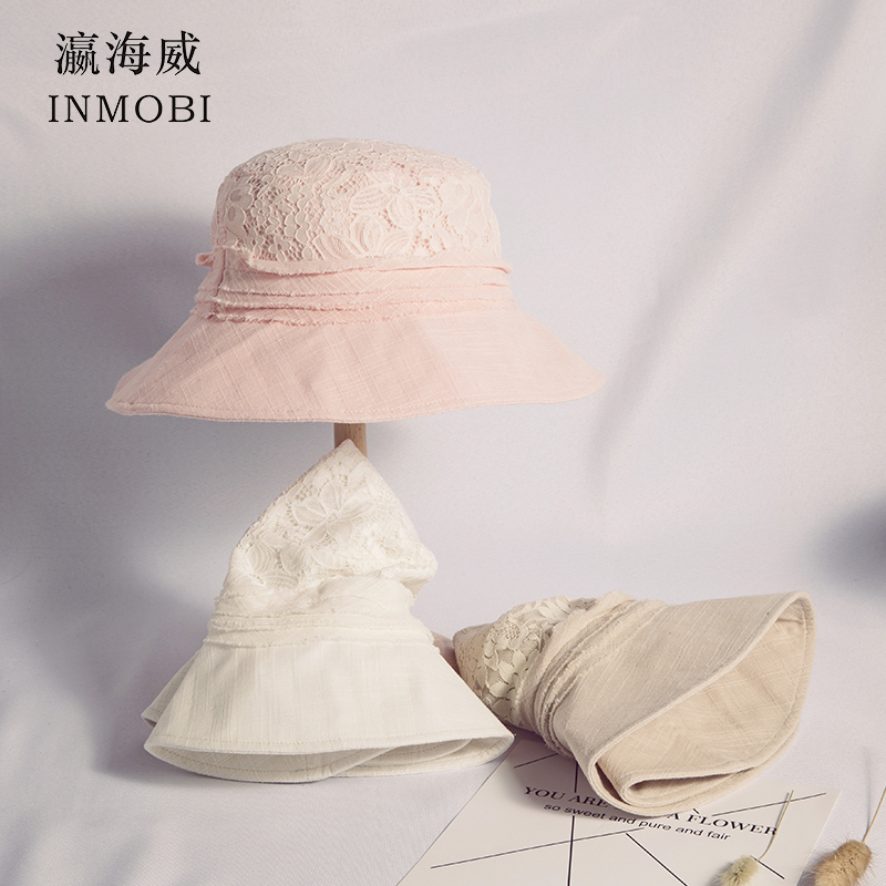 Contemplative Lace Openwork Flower Fisherman Bucket Hat Beige/white/pink Summer Beach Visor Sun Hat Panama Cap Foldable Anti-ultraviolet Hats