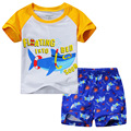 2016 Summer Boys Clothes Suits Shark Beach Sets Fashion Children tracksuits Short Sleeve T-Shirts Shorts Pant Suit Hot Sale
