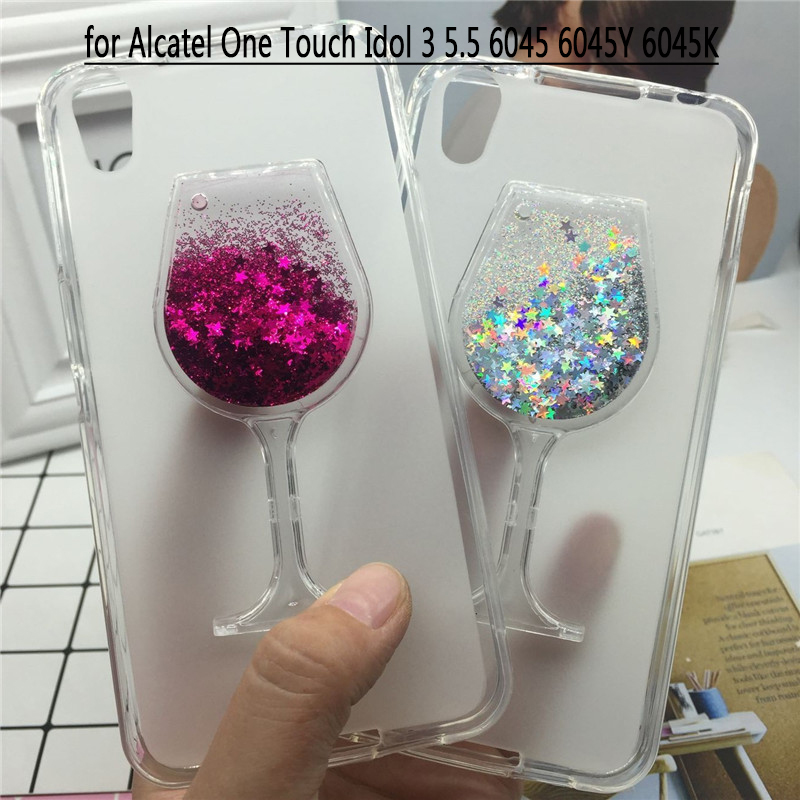 Glitter Quicksand <font><b>Phone</b></font> Cases for <font><b>Alcatel</b></font> One Touch Idol 3 5.5 OT-6045 6045Y 6045K Case Soft Silicon Back Cover 3D Capa