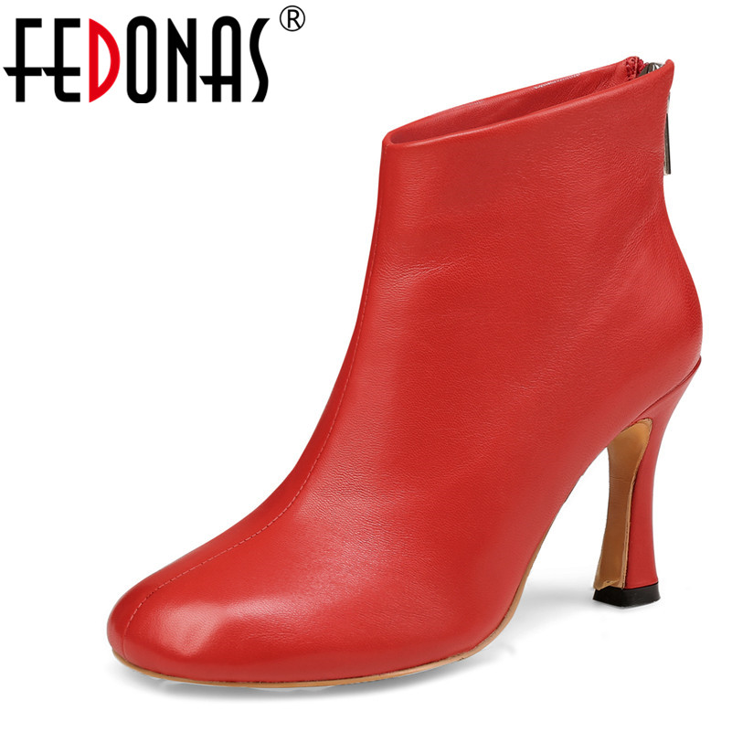 FEDONAS Women Back Zipper Ankle Boots Autumn Winter Genuine Leather Shoes Woman Warm Ladies Boots Fashion Square Heels PumpsFEDONAS Women Back Zipper Ankle Boots Autumn Winter Genuine Leather Shoes Woman Warm Ladies Boots Fashion Square Heels Pumps