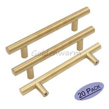 Kitchen Cabinet Knobs & Handles 76mm Hole Centers Closet Golden Brushed Brass Drawer Pulls 20 Pack