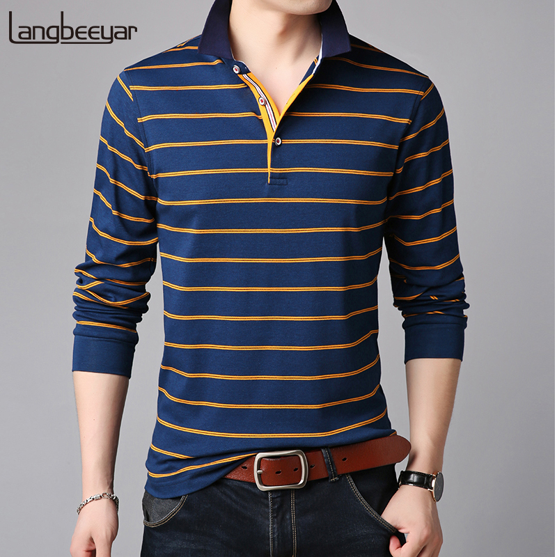 2019 New Fashion Brands   Polo   Shirt Mens Striped Cotton Long Sleeve Slim Fit Top Grade Designer Poloshirt Casual Men Clothing