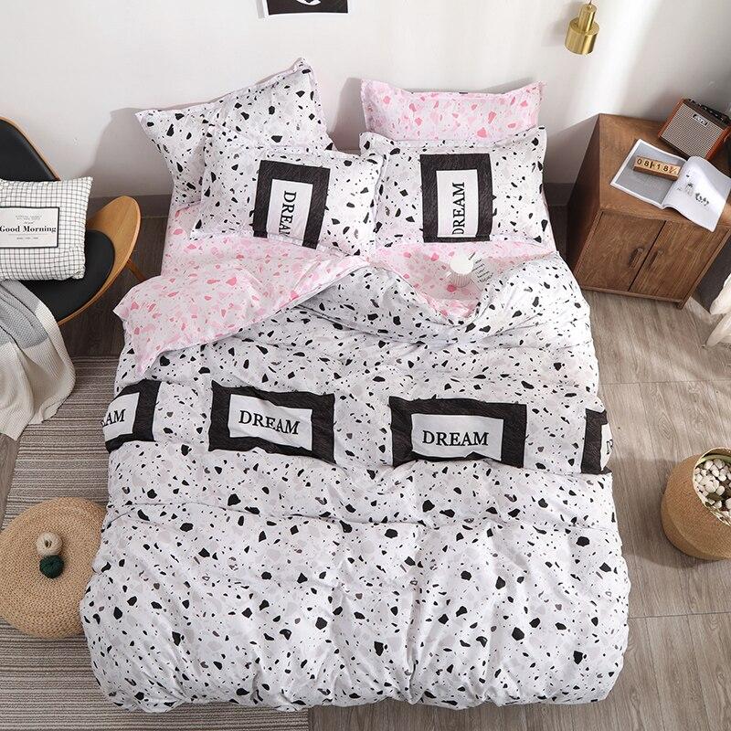 Bedding-Set Letter Flat-Sheet Dream Fleece Pillow-Case Duvet-Cover Full-Queen-King-Size