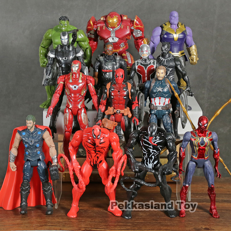 Avengers Infinity War Venom Carnage Spiderman Thanos Thor Deadpool Hulk Iron Man Black Panther Action Figure Toys 14pcs/setAvengers Infinity War Venom Carnage Spiderman Thanos Thor Deadpool Hulk Iron Man Black Panther Action Figure Toys 14pcs/set