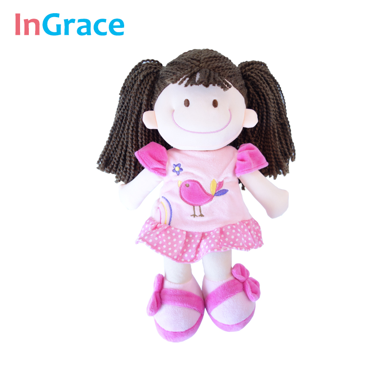 InGrace brown hair cute clothe dolls for children girls plush toy with chick printed dress 35CM easy took off diy doll girl toy стоимость
