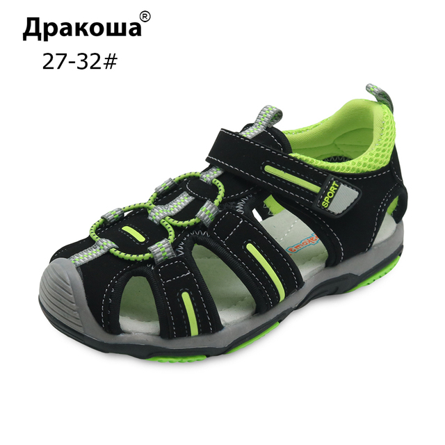 e568938d21c20 Apakowa Boy s Summer Beach Sandals Kids Closed Toe Shoes with Arch Support  Toddler Children s Classic Sports Sandals for Boys