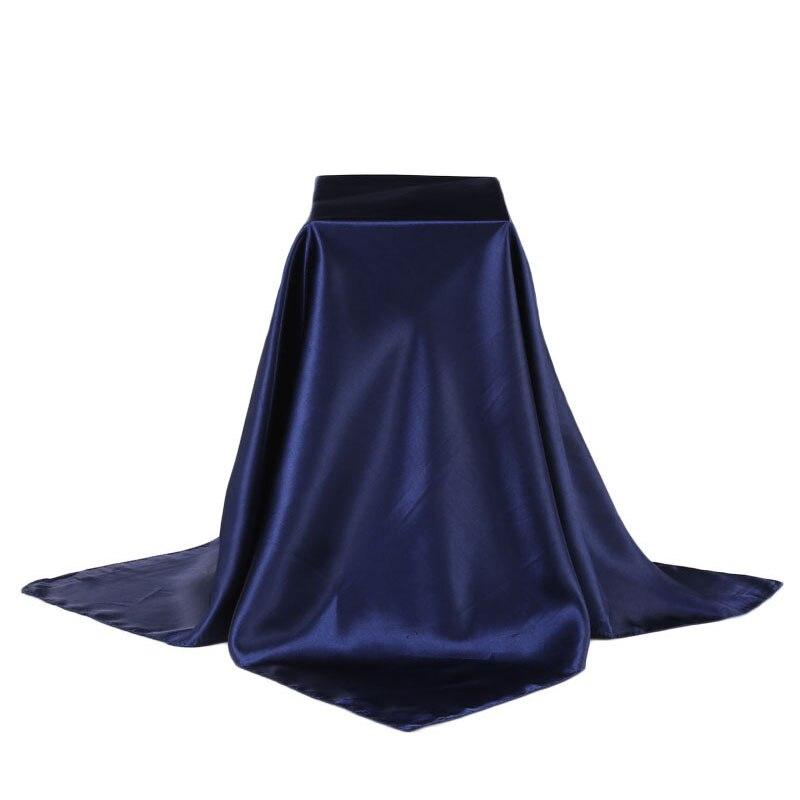 fa727eb9c8e7 90 90 cm Femmes De Mode Solide Plaine Grandes Foulards En Soie Carrés Doux  Musulman Hijab Bandeau Pas Cher Châles et Foulards automne D été