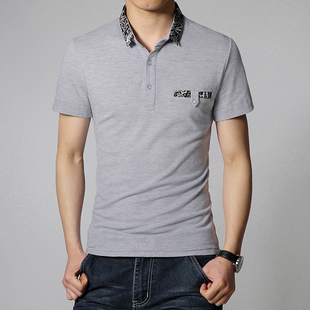 2016 New Summer mode men's polo Shirts short-sleeved  lapel solid color Lycra Modal  Slim Fit  Men Casual clothing trend 3XL