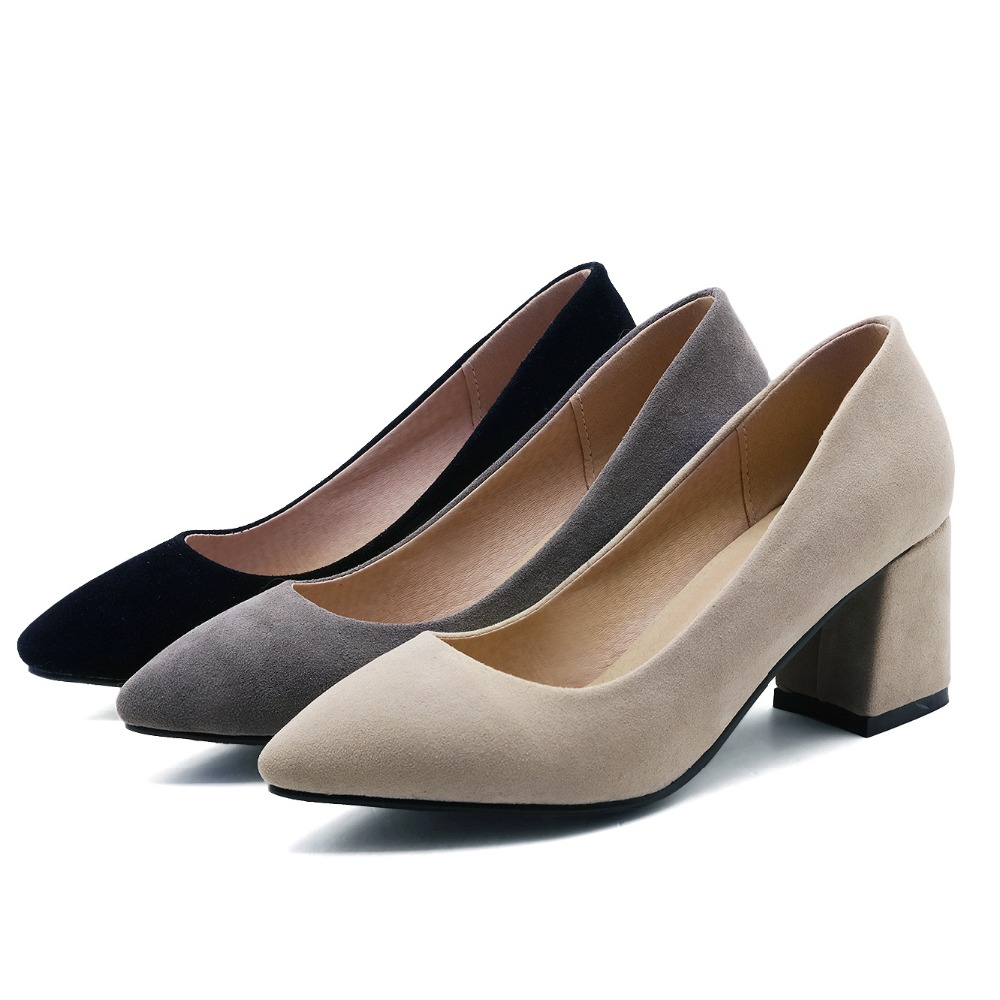 Plus Large Size Office Dress Block High Heels Women Pumps Faux Suede Pointed Toe Party Spring Autumn Black Flock Ladies Shoes new 2017 spring summer women shoes pointed toe high quality brand fashion womens flats ladies plus size 41 sweet flock t179