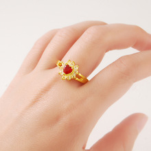Wedding-Ring Engraved Jewelry Gold Pure-Gold Stone Plating Flower Fashion Women Luxury