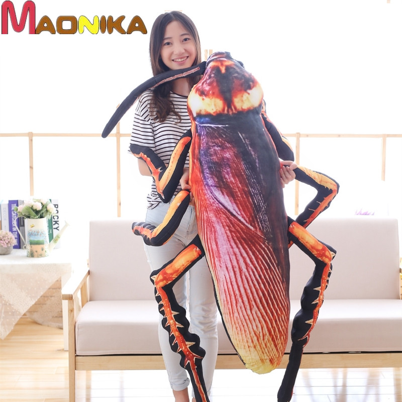 One Piece Simulation Cockroach Plush Toy Stuffed Fnnuy Insect Toy Doll For Kids Creative Soft Pillow Weird Birthday Gift Toys