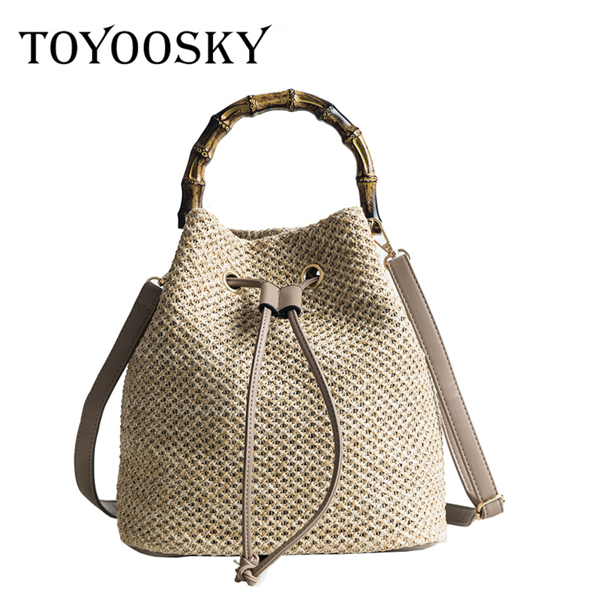TOYOOSKY Beach String Women Bucket Bags Female Summer Knitting Straw Bags Casual Holiday Crossbody Bag Bamboo Handle Handbags summer straw beach bag women circle ring handbags female string waterproof casual big tote ladies messenger bags for vocation