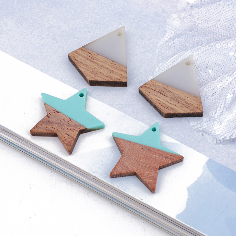 Necklace Charms Bracelet Pendant Earring Wooden Star Pentagram Resin Jewelry-Make 2pcs