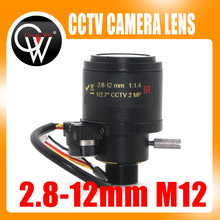 "MP HD motorizado 1/2.7 ""2,8 12mm Varifocal F1.4 M12 montaje DC Iris Auto IR cámara de seguridad CCTV lente"