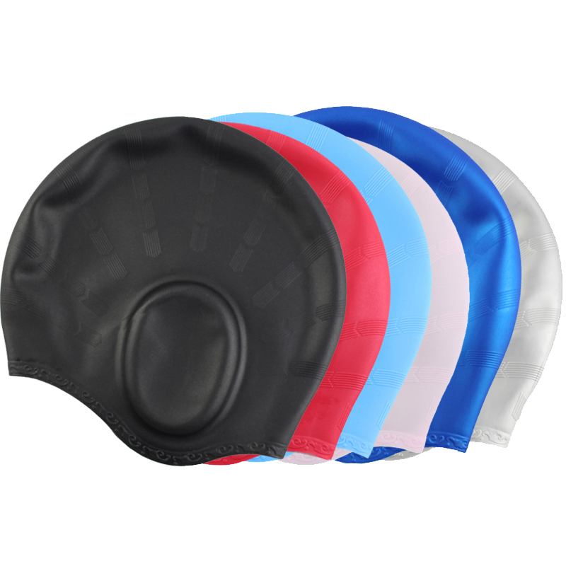 Women Men Children Kids Swim Pool Water Sport Waterproof Silicone Diving Swimming Cap Long Hair Protection Ear Cup Swim Caps Hat
