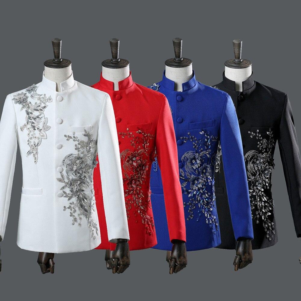 Costume de Style chinois masculin ensemble Leader de scène diamant 2 pièces costumes hommes manteau pantalon blanc bleu rouge costumes
