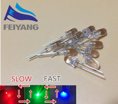 100Pcs F5 5mm Fast Flash RGB Rainbow Multi Color Light Emitting Diode Round LED