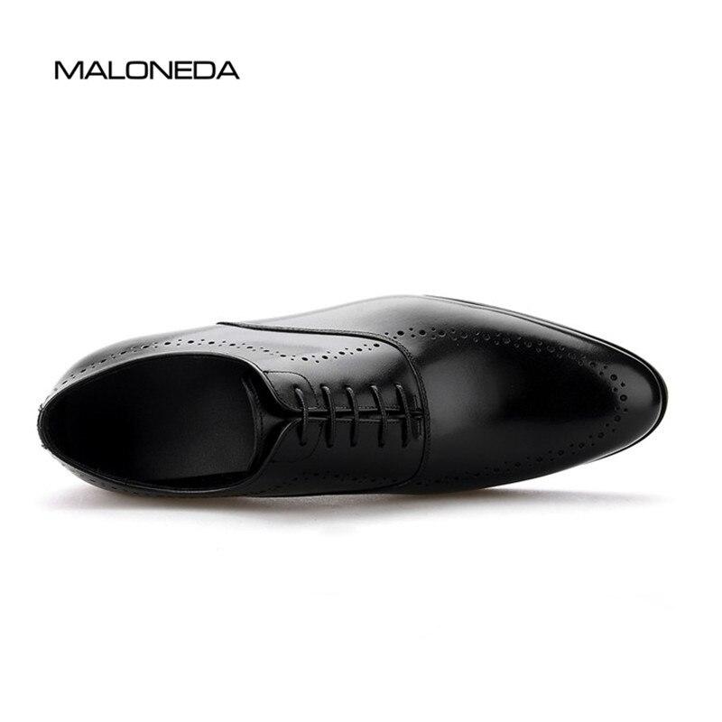 Formales Zapatos marrón Básica Cuero Planos Los Marca Boda Negro A Hombres De Vestido Genuino Hechos Mano Perforación Maloneda Transpirable CfqnawXx
