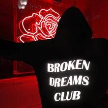 2017 новые модные толстовки сломанной Dream-клуб Светоотражающие унисекс толстовка с капюшоном черный