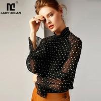 2019 100% Pure Silk Women's Runway Shirts O Neck Polka Dots Ruffles Fashion Blouse Shirts