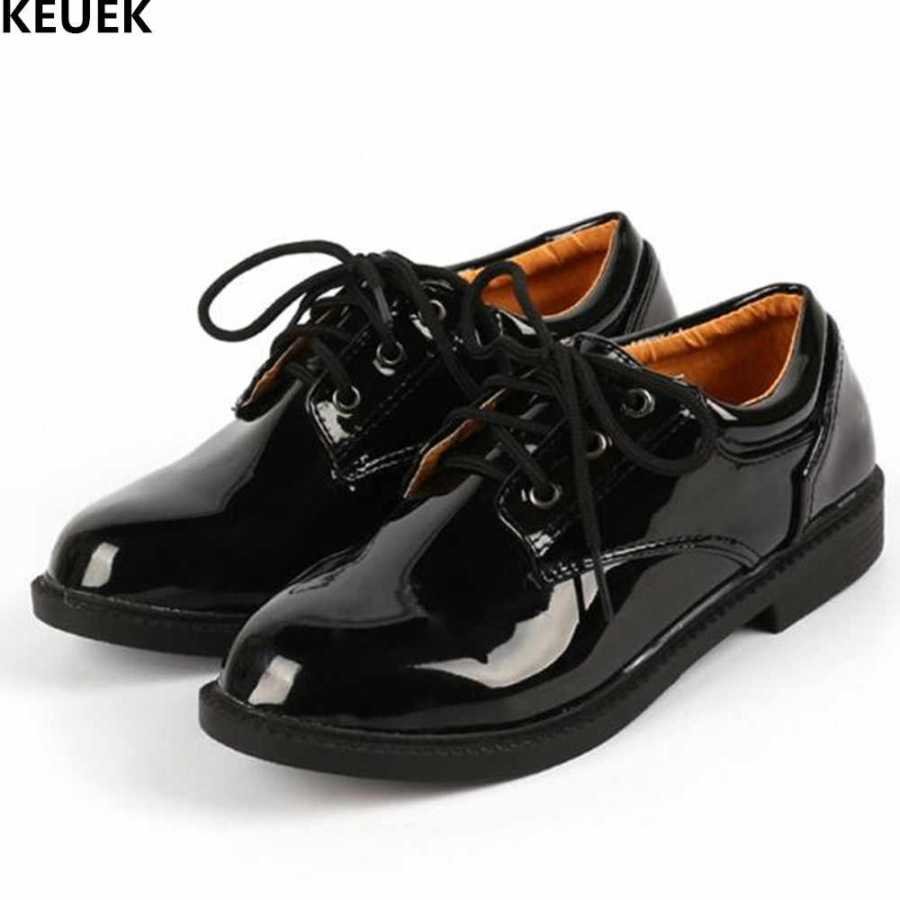 d0930cbe757ad New Children Shoes Boys Leather Shoes Student Black Dress Shoes White Lace-Up  Flats Baby