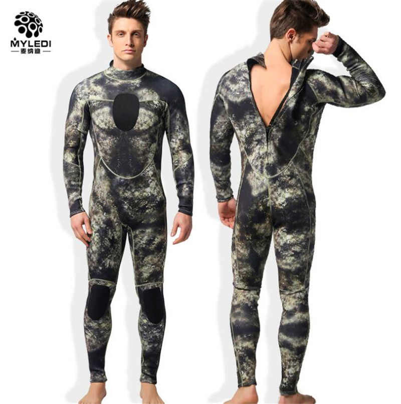 MYLEGEND Camouflage Wetsuit 3mm Diving Suit Warmer Winter Swim Long Sleeve One piece Swimsuits Thick Shirt Jacket Surfing Wear in Wetsuit from Sports Entertainment