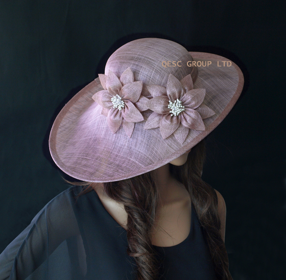 NEW Heather Pink Large Hatinator Wedding Fascinator Saucer Base Church Women's Hat With Sinamay Flower For Kentucky Derby