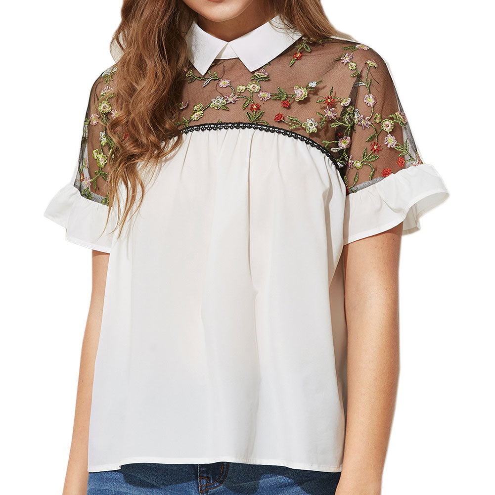 Charm Gift Chiffon Decoration Print Accessory Short Sleeve Popular Personality Handmade Women Special Simple shirt