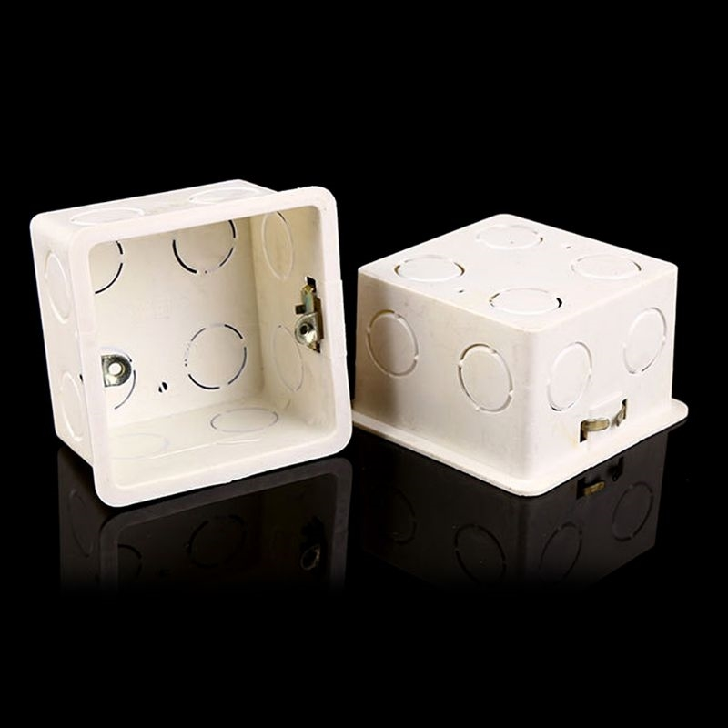 1pcs 86 Type Junction Box Surface Mount Bottom Wall Switch Socket Trough White PVC Box 86*86*50mm