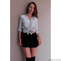 Women Lady Striped Lined Long Sleeve Button Down Shirt Spring Summer Casual Loose Top Shirt Blouse