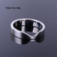 2017 new fashion punk jewelry men stainless titanium steel type V silver Rotatable Ring Finger Rings for men & women gift(China)
