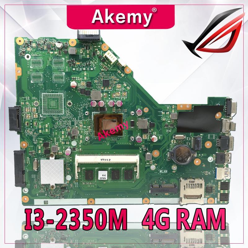 Carte mère d'ordinateur portable Akemy X55CR pour ASUS X55CR X55VD X55V Teste carte mère d'origine 4g RAM I3-2350M