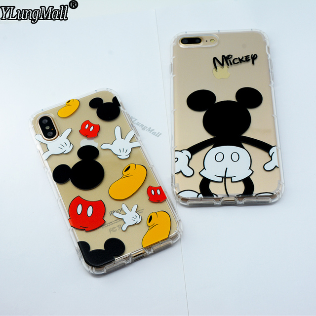 buy online 12c6d 2ff49 US $2.07 23% OFF|YLungMall Mickey Mouse Case Coque for iPhone Xs Max X 7 8  6 6S Plus Xr 9 Fundas Cover Soft Clear Air Protector Back Phone Case-in ...