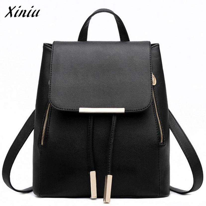 Xiniu Backpack Women PU Leather Hasp Drawstring Bag Solid Color School Bags For Girls Sac A Dos Femme #1213 костюм цветочной хиппи 48