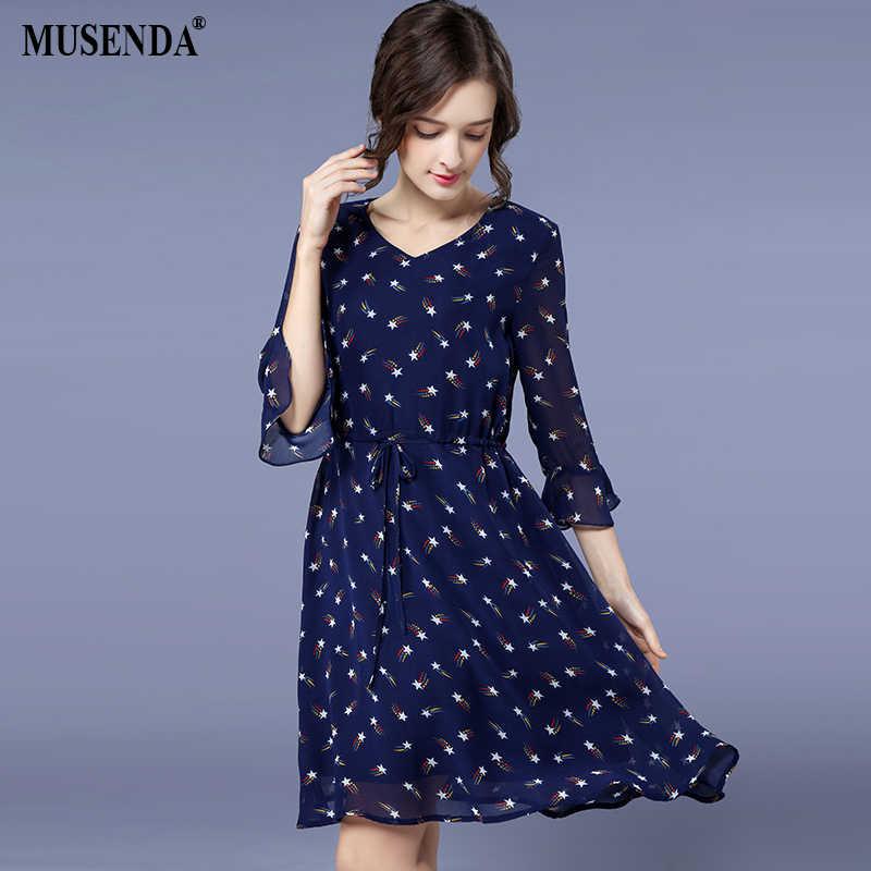 MUSENDA Plus Size Women Royal Blue Chiffon Print Drawstring Waist Draped Dress  2018 Spring Female Lady 1c33d35c1f7c